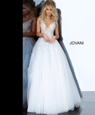 Jovani 11092 floral embroidered tulle prom dress ball gown