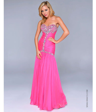 Nina Canacci 1041 Bubble Gum Size 4 prom dress pagant