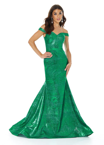 Ashley Lauren 11007 Let your curves do the talking in this off shoulder metallic jersey mermaid prom dress. The skirt on this evening pageant gown is finished with horsehair.  Colors  Emerald, Royal, Silver  Sizes 0, 2, 4, 6, 8, 10, 12, 14, 16, 18  Off Shoulder Metallic Jersey Mermaid Train
