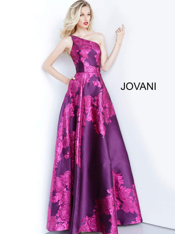 Jovani 02035 One shoulder floral print prom dress ball gown