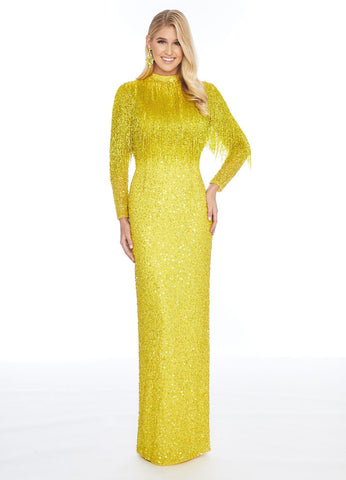 Ashley Lauren 1928 beaded fringe yellow evening gown