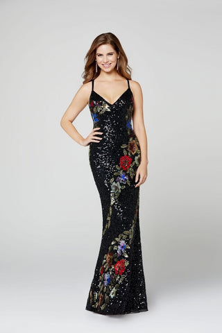Primavera Couture 3410 floral pattern beaded prom dress
