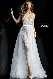 Jovani 60010 embellished v neckline jumpsuit with removable tulle overskirt