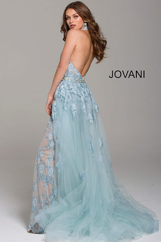 Jovani 60124 lace halter prom jumpsuit Romper Lace Detachable Skirt Dress