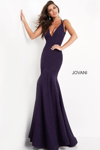 Jovani 60214 plunging v neckline with spaghetti straps long mermaid prom dress with open low cut back and tie at the neck with tassels at the ends of the straps that hang down the open back.   Available colors:  Amethyst, Black, Crimson, Emerald, Navy, Peacock, Sand, Slate, Teal, White  Available sizes:  00, 0, 2, 4, 6, 8, 10, 12, 14, 16, 18, 20, 22, 24