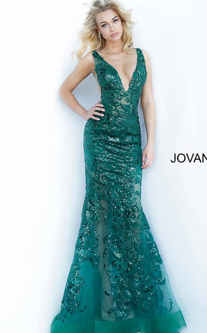 Jovani 60283 Long Floral Sheer Sequin Formal Evening Prom Dress V Neck Gown