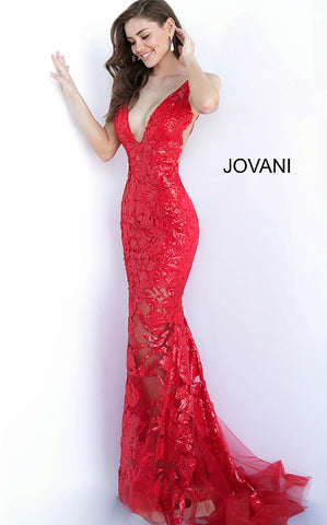 Jovani 60283 sequin embellished floral Lace sheer Fitted 2020 prom dress Plunging Neckline