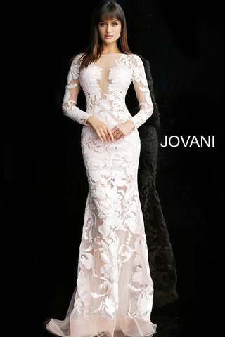 Jovani 60285 Fitted Sheer sequin long sleeve prom dress Illusion Sexy Pageant Gown