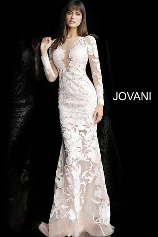 Jovani 60285 is a fitted long sleeve Sheer Sequin embellished prom dress & Pageant Gown. White could even be worn as a sexy wedding dress!