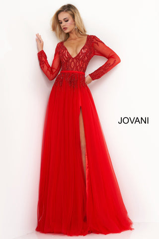 Jovani 60325 is a long Tulle A Line formal evening Gown. Featuring a sheer fitted bodice & Long sleeves with a deep V neckline. Embellished & Beaded Cascading accents along the top and sleeves flowing down into the A Line skirt with a maxi slit and sweeping train. Great informal wedding dress or wedding guest! Available Sizes: 00,0,2,4,6,8,10,12,14,16,18,20,22,24  Available Colors: Nude/Silver, Off White, Red