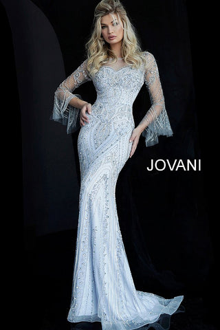 Jovani Grey Beaded Sheer Neckline Fitted Evening Dress 60827