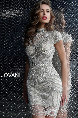 93246e5b63 Jovani Off White Nude Beaded short Sleeve Cocktail Dress 60933 –  GlassSlipperFormals