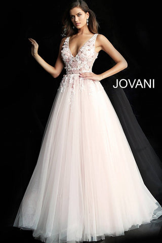 Jovani 61109 Blush floral applique tulle prom ball gown with a sheer sleeveless bodice, low v-neckline, V-shaped back and sheer sides, floor-length A-line flared and pleated skirt. A line V Neck Ballgown Prom Dress  Available Colors: Blush, Light Blue  Available Sizes 00-24