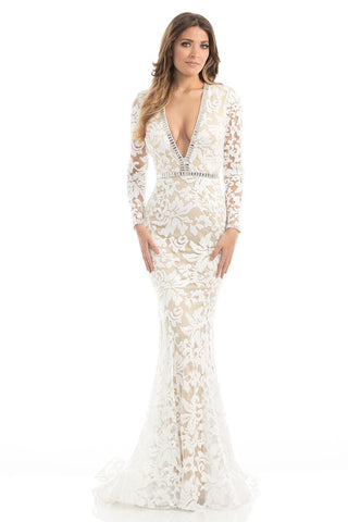 Johnathan Kayne 6113 An elegant sequin lace mermaid evening gown with long sleeves and is trimmed with crystal trim.  The innovative invisible zippered neckline offers versatility of a plunging neckline or a more modest neckline with just one zip. Embellished waistline for added slimming details.