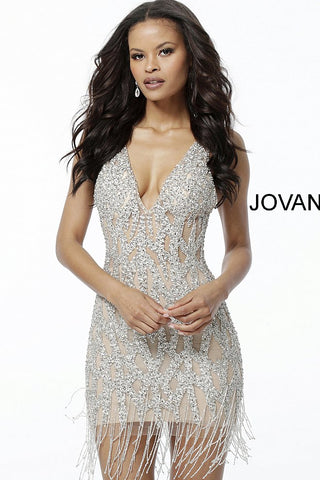 Jovani 61572 Short Sheer Crystal Tassel Fringe Cocktail Party Dress Formal evening gown