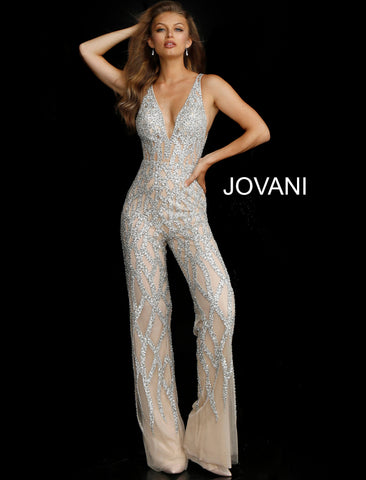 Jovani 61573 Silver Nude Plunging Neckline Beaded Contemporary Jumpsuit