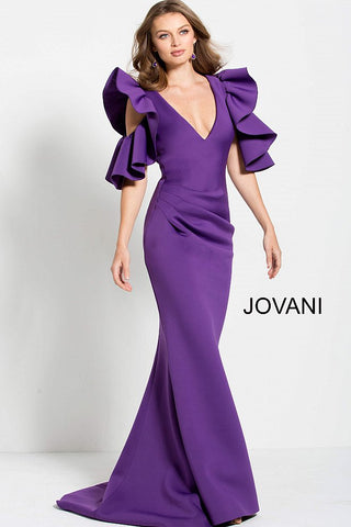Jovani Purple Ruched Bodice Long Scuba Evening Gown 61518