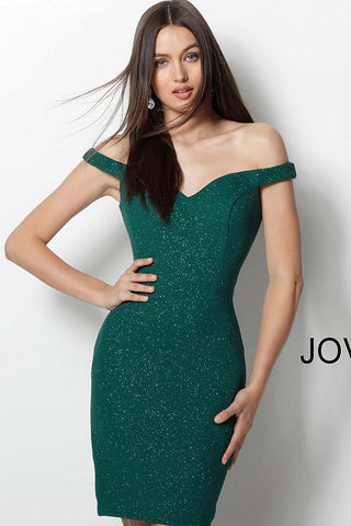 Jovani 61623 Off the Shoulder Fitted Short Cocktail Dress  Stretch glitter waffle fabric, fitted short dress, off the shoulder bodice, sweetheart neckline, princess seams.    Available Size: 8  Available Color: Hunter