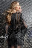 Jovani Gunmetal Fully Beaded Long Sleeve Short Dress 61636