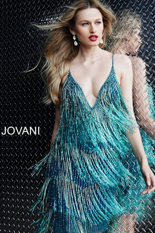 Jovani 61883 Short Fringe Plunging V Neck Cocktail Party Dress Flapper Gown