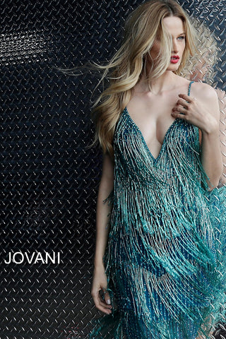 ... Jovani Emerald Fringe Plunging Neckline Cocktail Dress 61883 ... d7e64c8ba