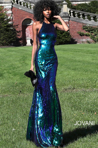 Jovani 61930 high neckline iridescent reversible sequin prom dress 2020 Embellished