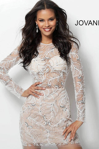 Jovani Off White Embellished Long Sleeve Cocktail Dress 62009