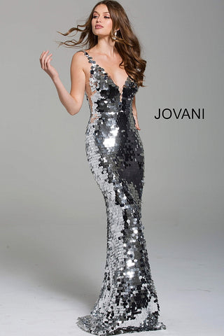 Jovani 62024 plunging neckline paillette sparkly prom dress ...