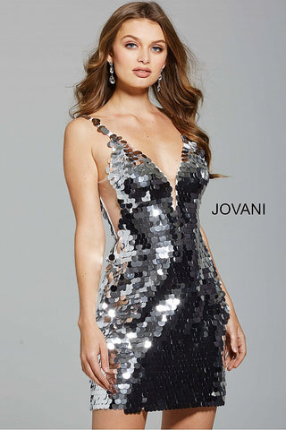Jovani Short Fitted Silver Paillette Sleeveless Dress 62025