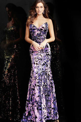 Jovani 62026 black velvet with multi colored sequins prom dress