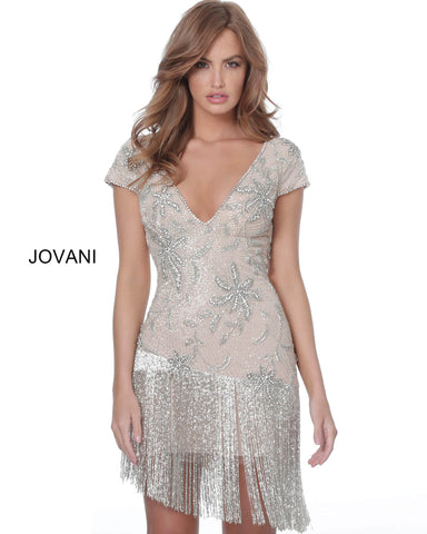 Jovani 62212 is a short fitted vintage inspired cocktail dress. featuring a deep v neckline with cap sleeves. This fully Beaded & Embellished formal dress features a fully embellished row of tassels & Fringe along the hips. Flapper inspired.  Available Colors: Off-White/Nude  Available Sizes: 00-24  Off White Nude Beaded Cap Sleeve Cocktail Dress with fringe skirt  Jovani 62212