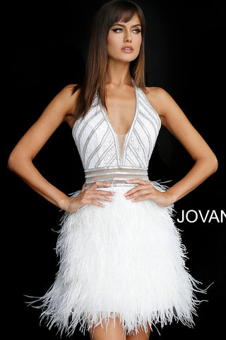 Jovani 62303 is a short v neck formal cocktail dress. featuring sequin embellished bodice with rows of crystal rhinestones and sheer panels. this formal party dress features a lush feather skirt.  Available Sizes: 00-24 Available Colors: Black/Silver, Off White/Silver