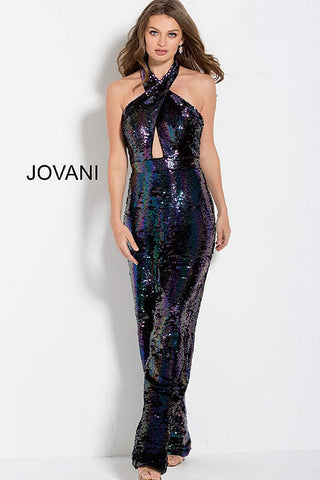 Jovani 62368 Black/Multi criss cross neckline jumpsuit