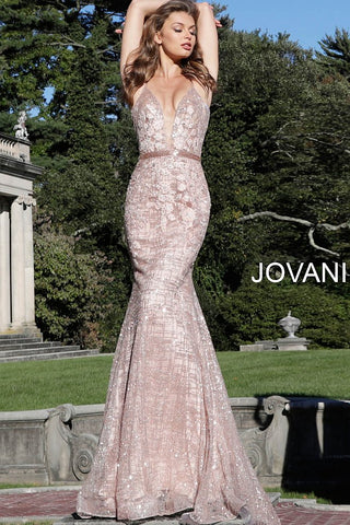 Jovani 62517 beaded floral applique prom dress