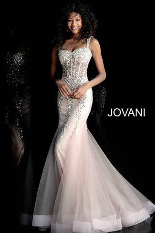 Jovani 62523 Taupe and silver long prom dress with cap sleeves, sheer corset embellished bodice and sweetheart neckline, open back cut-out and floor length fitted skirt with flared sheer godet mermaid end. Available Colors: Black/Black, Black/Rose, Burgundy/Burgundy, Navy/Navy, Nude/Silver, Smoke/Smoke and Taupe/Silver  Available Sizes: 00-24