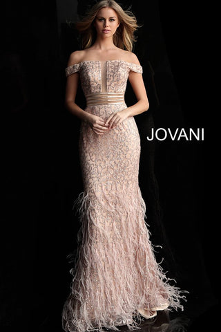 Jovani 62744 Rose/Gold off the shoulder prom dress pageant gown