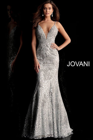 Jovani 62750 plunging neckline embroidered prom dress