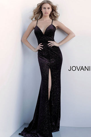 Jovani 62807 plunging neckline fitted glitter prom dress