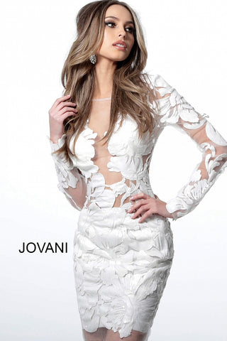 Jovani 62811 Homecoming cocktail Dress formal gown for any special event!  Short Fitted sheer sequin floral lace Long sleeve, Embellished fitted cocktail dress with sheer plunging neckline and sheer full back.   Available Colors: black, blush, emerald, red, white  Available Sizes: 00-24