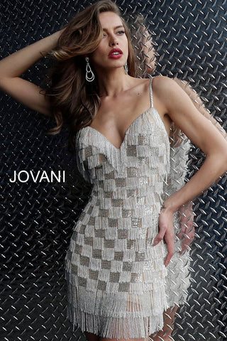 Jovani Silver Nude Fitted Spaghetti Straps Fringe Cocktail Dress 62817