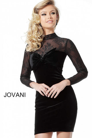 Jovani 62959 Black Sizes 00-24 Short cocktail dress sheer lace high neckline sheer lace sleeves fitted cocktail dress