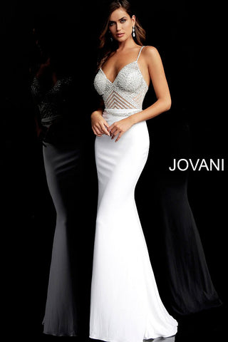 Jovani 63147 Long Fitted Sheer embellished bodice jersey prom dress Evening Wedding