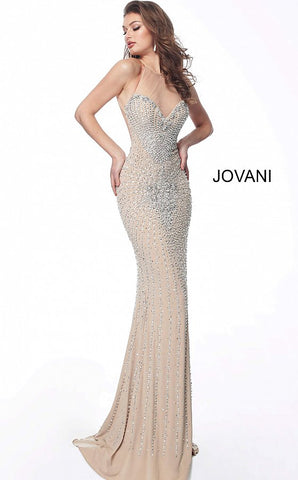Jovani 63160 sweetheart neckline beaded hearts fitted evening gown prom dress