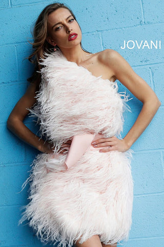 Jovani Blush Feather One Shoulder Short Dress 63200