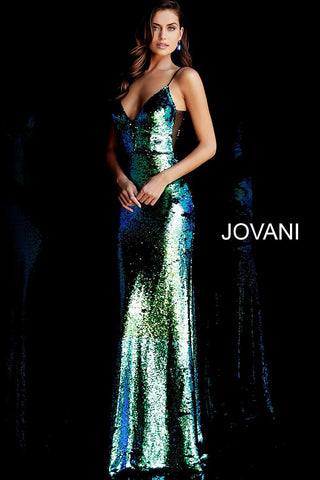Jovani 63204 Multi reverse sequins spaghetti straps prom dress