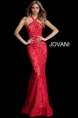 Jovani 63214 embellished lace fitted prom dress