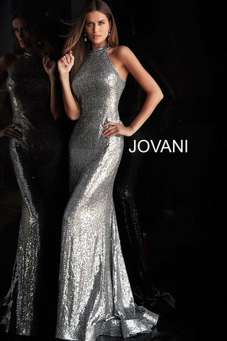 Jovani 63334 Silver embellished sequin prom dress