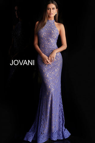 Jovani 63335 high neckline embellished lace prom dress