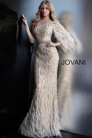 Jovani 63342 Gold one shoulder feather detail prom dress
