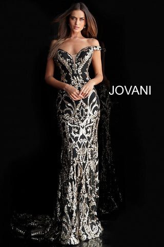 Jovani 63349 size 12 White/Gold off the shoulder prom dress